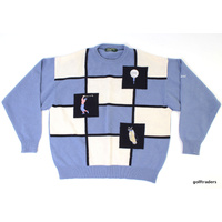 LYLE & SCOTT TITLEIST GOLF SWEATER SIZE L LIGHT BLUE/WHITE/BLACK - #C5974