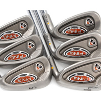 "PING i10 YELLOW DOT IRONS 5-PW STEEL AWT STIFF FLEX (-0.25"") -GOOD COND #D3997"
