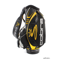 "COBRA ""CUSTOM FIT TO SPEED"" STAFF GOLF BAG +HOOD -BLACK / YELLOW -USED #D5182"