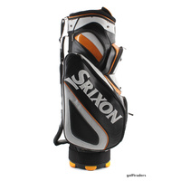 SRIXON GOLF CART BAG -BLACK/ SILVER/ ORANGE 14 HOLE DIVIDER +HOOD +USED #D5207