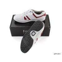 FOOTJOY GREENJOYS MEN'S SPIKELESS GOLF SHOES SIZE 9.5W US WHITE/RED NEW #D5631