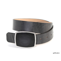 GLENAYR GOLF-GENUINE GRAIN LEATHER BELT GREY/BLACK-LARGE POLISHED BUCKLE BELT10