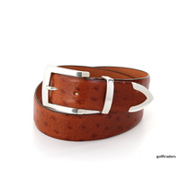 GLENAYR GOLF GENUINE LEATHER BELT TAN OSTRICH GRAIN-CLASSIC 3PC BUCKLE #BELT12
