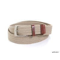 GLENAYR GOLF GENUINE LEATHER BELT BEIGE BRAIDED ELASTIC-CLASSIC BUCKLE #BELT13