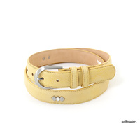 GLENAYR GOLF-GENUINE LEATHER THIN LADIES BELT YELLOW +STUDS REG BUCKLE #BELT16