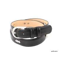 GLENAYR GOLF-GENUINE LEATHER BLACK LADIES BELT 3STUDS PATTERN REG BUCKLE BELT20