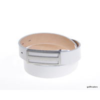 GLENAYR GOLF-GENUINE LEATHER WHITE THIN LADIES BELT RECTANGULAR BUCKLE #BELT23