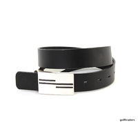 GLENAYR GOLF-GENUINE LEATHER BLACK BELT FLAT BRUSHED METAL 3 LINES BUCKLE BELT9