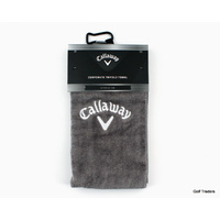 "CALLAWAY TRIFOLD GOLF TOWEL SLIM 16"" X 21"" - GREY - NEW #E1919"