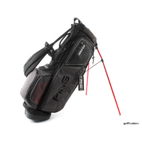PING HOOFER GOLF STAND BAG - BLACK / CHARCOAL / RED - NEW #E3722