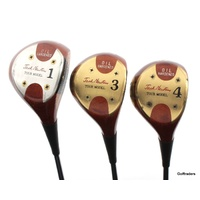 JACK NEWTON TOUR MODEL PERSIMMON VINTAGE SET DRIVER, 3, 4 WOOD STEEL REG #E7061