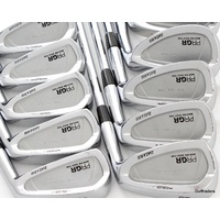"PRGR DATA 801 FORGED ""JAPAN"" IRONS 3-PW, AW+SW STEEL RIFLE STIFF FLEX #F1496"