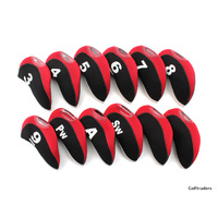 New Iron Head Covers Set - 12 Pieces - Red / Black H11